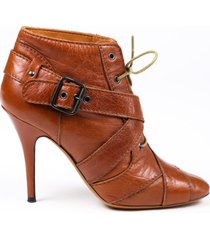givenchy brown leather lace up buckle square toe booties brown sz: 6