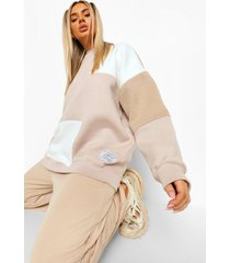 official collection colour block sweater, taupe