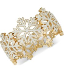 inc two-tone snowflake bangle bracelet, created for macy's