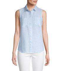sleeveless linen shirt