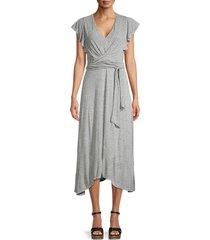 rebecca taylor women's tie-waist jersey dress - grey heather - size l
