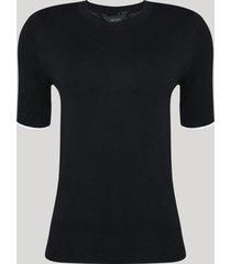 blusa feminina em tricô manga curta decote redondo preta