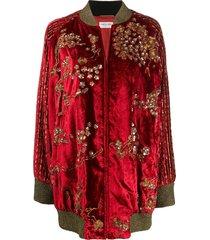 saint laurent beaded varsity jacket - red