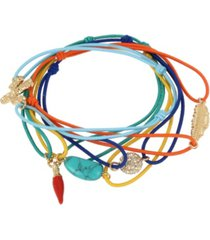 jessica simpson turquoise charm mixed stretch bracelet set, 7""