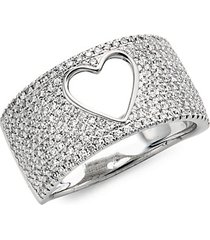14k white gold diamond heart cutout ring