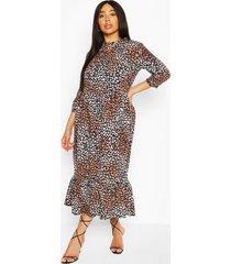 plus gelaagde strandmidi-jurk met ruches en luipaardprint, bruin