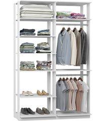 closet 2 cabideiros 7 prateleiras 9010 branco - bentec