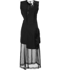 comme des garçons pre-owned faux fur detail dissected dress - black