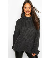 rib knit wide sleeve turn up cuff sweater, charcoal