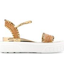 casadei braided strap platform sandals - gold