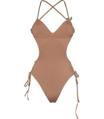 frankies bikinis meredith strappy backless swimsuit - brown