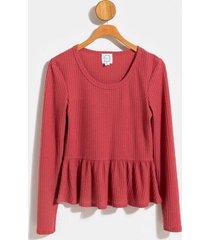 emmie waffle knit babydoll tee - blush