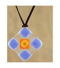 art glass pendant necklace, 'periwinkle treat' (thailand)