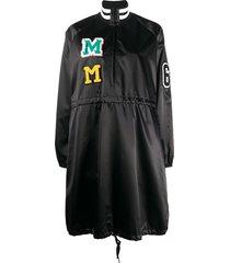 mm6 maison margiela logo patches zip-up dress - black