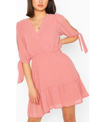 dobby tie sleeve skater dress, rose