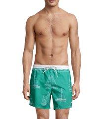 boss hugo boss men's piranha sailboat-print swim trunks - aqua - size xl