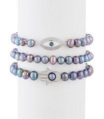 eye candy la women's luxe 3-piece man-made peacock pearl & cubic zirconia hamsa & evil eye beaded bracelet set