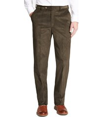 men's berle flat front classic fit corduroy trousers, size 42 x unhemmed - green