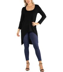 24seven comfort apparel women long sleeve high low rounded hemline tunic top