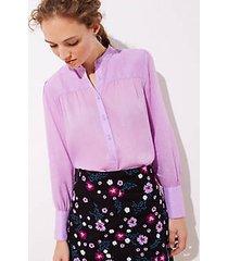 loft petite shirred puff sleeve blouse