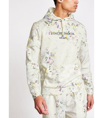 river island mens ecru floral slim fit long sleeve hoodie