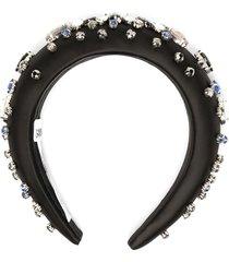 ganni gem-embellished headband - black