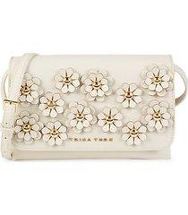 mini floral-appliqué faux leather crossbody bag