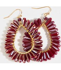 tambria crystal trim teardrop earrings - burgundy