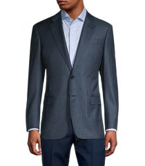armani collezioni men's standard-fit textured wool blazer - charcoal - size 54 (44) r