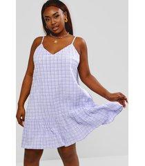 plus size plaid flounce seersucker tunic dress