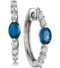 sapphire (1-1/5 ct. t.w.) & diamond (1/2 ct. t.w.) hoop earrings in 14k white gold