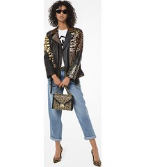 mk giacca biker in pelle effetto patchwork stampa animalier - cammello scuro (marrone) - michael kors