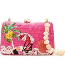 serpui straw clutch bag - pink
