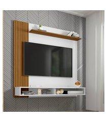 painel oslo para tv até 55 pol móveis bechara 2 nichos branco e cinamomo
