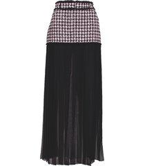 tweed and chiffon pleated maxi skirt