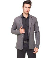 blazer masculino tony menswear slim fit de sarja cinza - tricae