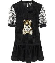 moschino plumetis mini dress teddy embroidery