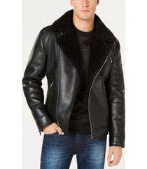 guess men's faux-leather fleece-lined asymmetrical full-zip moto jacket