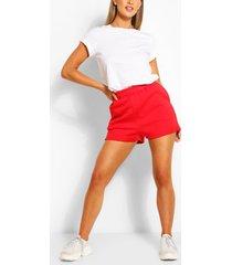 pocket detail sweat shorts, red