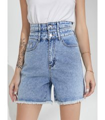 pantalones cortos de mezclilla azul con bolsillo lateral de cintura alta y dobladillo con borlas
