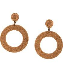 oscar de la renta braided hoop earrings - tan