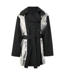 nº21 trench coat comzíper - preto