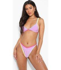 driehoekige bikini top met contrasterende naden, lilac