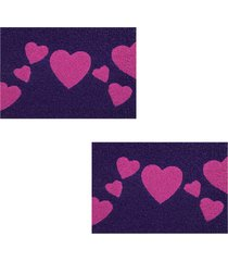 2 capachos divertido p/ porta 60x1,2m love90 - roxo - feminino - dafiti