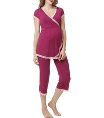 women's kimi and kai cindy nursing/maternity pajamas, size small - pink