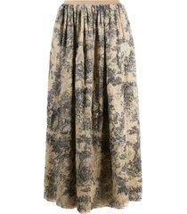 uma wang all-over print skirt - grey