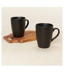 amaro feminino jogo 2 peças canecas de café com bandeja de madeira, preto