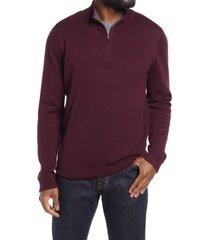 men's nordstrom washable merino quarter zip sweater, size 3xl - burgundy