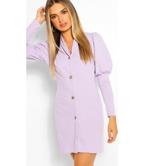 puff sleeve double breasted blazer dress, lilac