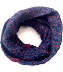 bufanda de lana circular azul jaspeado rojo niba